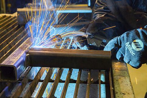 Close-up of live welding with Bernard MIG gun