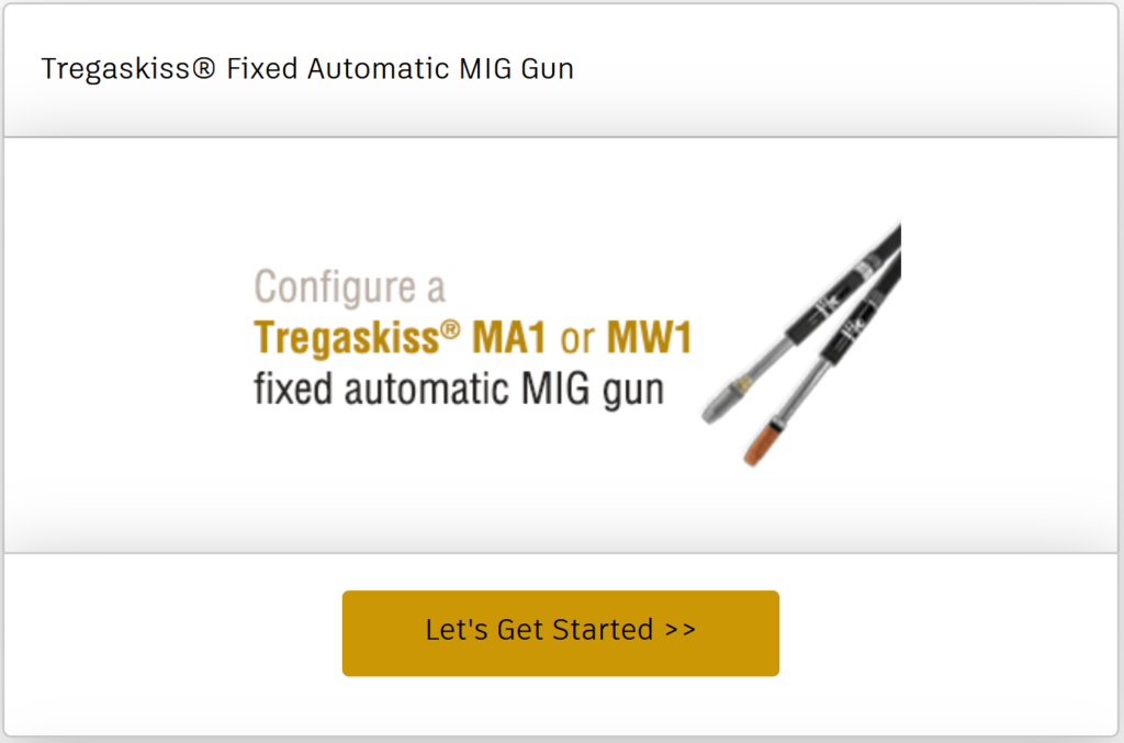 Configure a MA1 or MW1 fixed automatic MIG gun online