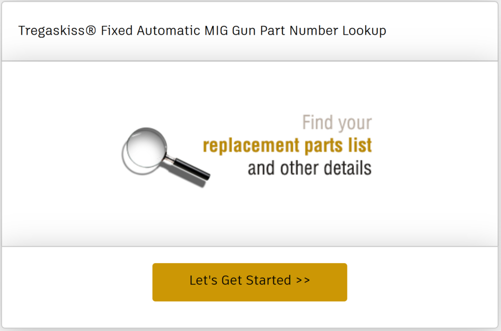 Find the replacement parts list and other details for the MA1 or MW1 fixed automatic MIG gun you already have