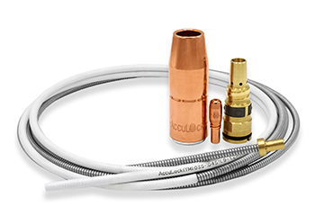 Image of AccuLock S MIG gun consumables including liner, nozzle, contact tip and diffuser