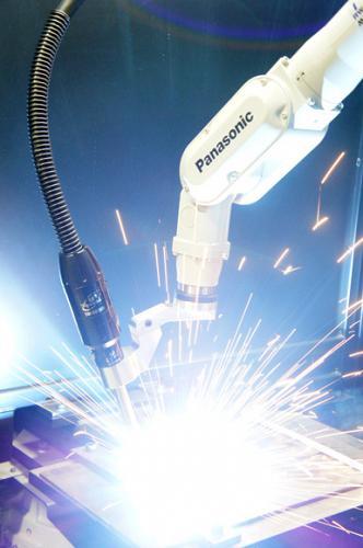 Image of a CA3 Robotic Air Cooled MIG Gun in a Panasonic robot
