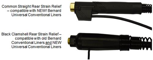 Comparison showing new vs. old rear strain relief