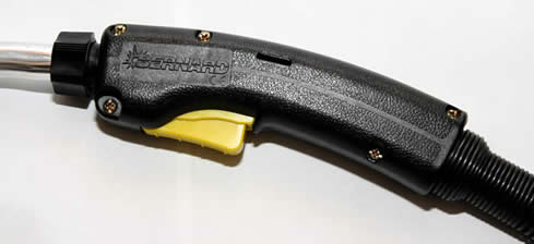 Image of a curved handle on a BTB MIG gun