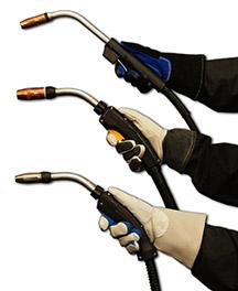 Image of gloved hands holding three different BTB MIG guns
