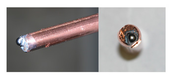Image of a wire melted with the contact tip badly damaged due to burnback