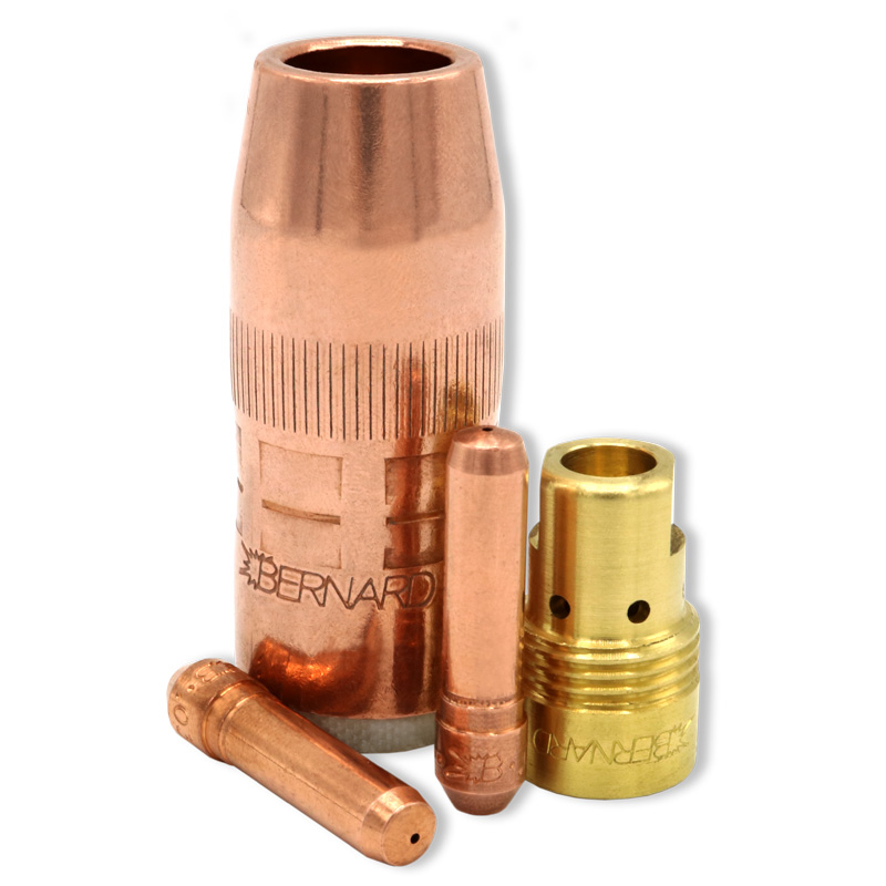 Centerfire consumables family shown with contact tips, nozzle and diffuser