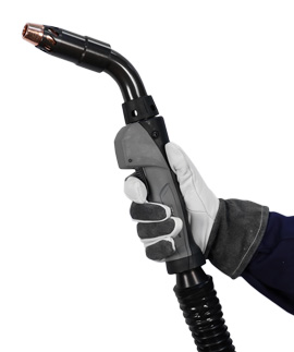 Clean Air straight handle fume extraction MIG gun being held by gloved hand