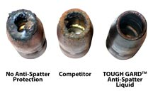 Comparison showing varying amounts of spatter buildup on a nozzle with no anti-spatter protection vs. a nozzle with competitive anti-spatter solution vs. a nozzle with TOUGH GARD anti-spatter liquid