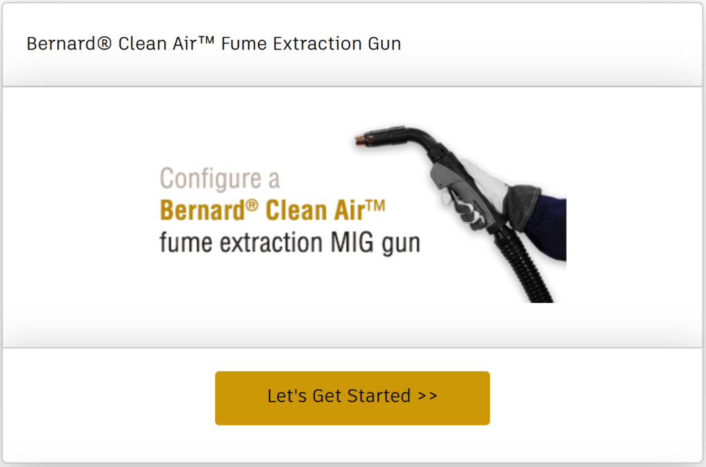 Configure a Clean Air fume extraction MIG gun online
