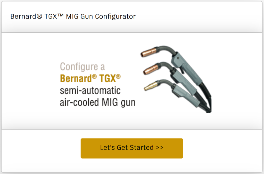 Configure a TGX semi-automatic air-cooled MIG gun online
