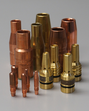 Image of MIG welding gun consumables including contact tips, nozzles and diffusers