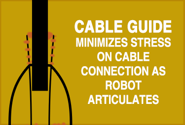 Infographic explaining cable guide on the product minimizes stress on cable connection as robot articulates