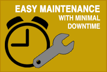 Infographic explaining product offers easy maintenance with minimal downtime