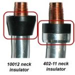 Neck insulator part number 10012 next to neck insulator part number 402-11 that shows the differences between the two