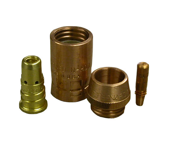 Quik Tip HD consumables family showing contact tip, diffuser, nozzle cone and nozzle body