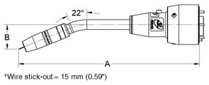 Dimensions diagram of TOUGH GUN TA3 MIG gun (solid mount) with 22-degree neck