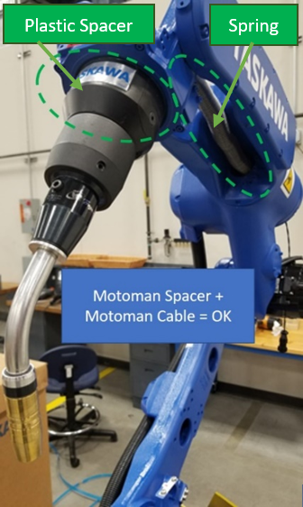 Image showing a Hybrid Tregaskiss/Motoman setup with Tregaskiss torch and consumables and plastic Motoman spacer.