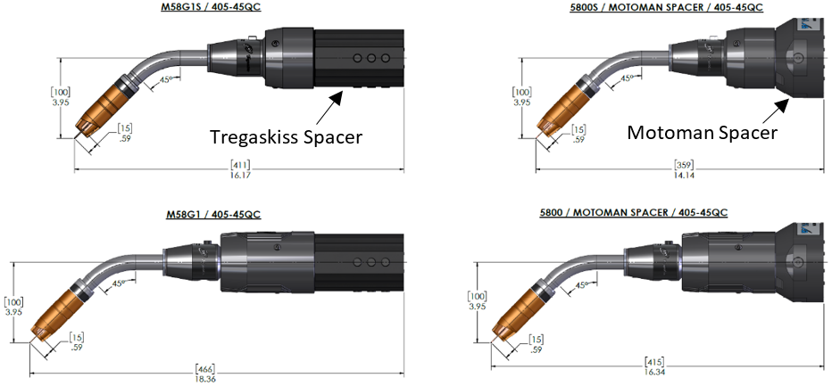 Configuration comparisons with dimensions comparing Tregaskiss spacer and the MOTOMAN Spacer