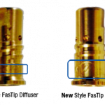 Comparison show old vs. new style FasTip diffusers