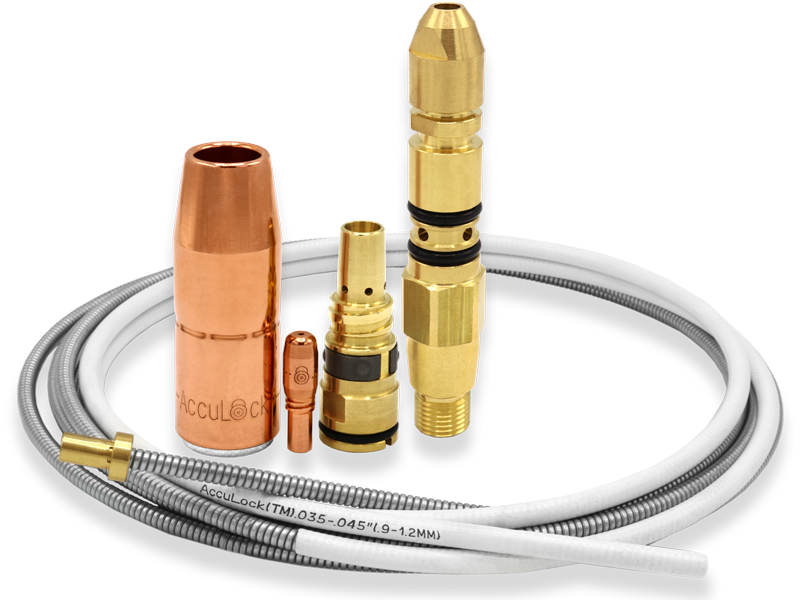 Image of AccuLock S Consumables family including contact tip, nozzle, diffuser, liner and power pin