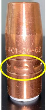401-20-62 nozzle showing 6 jaw crimp