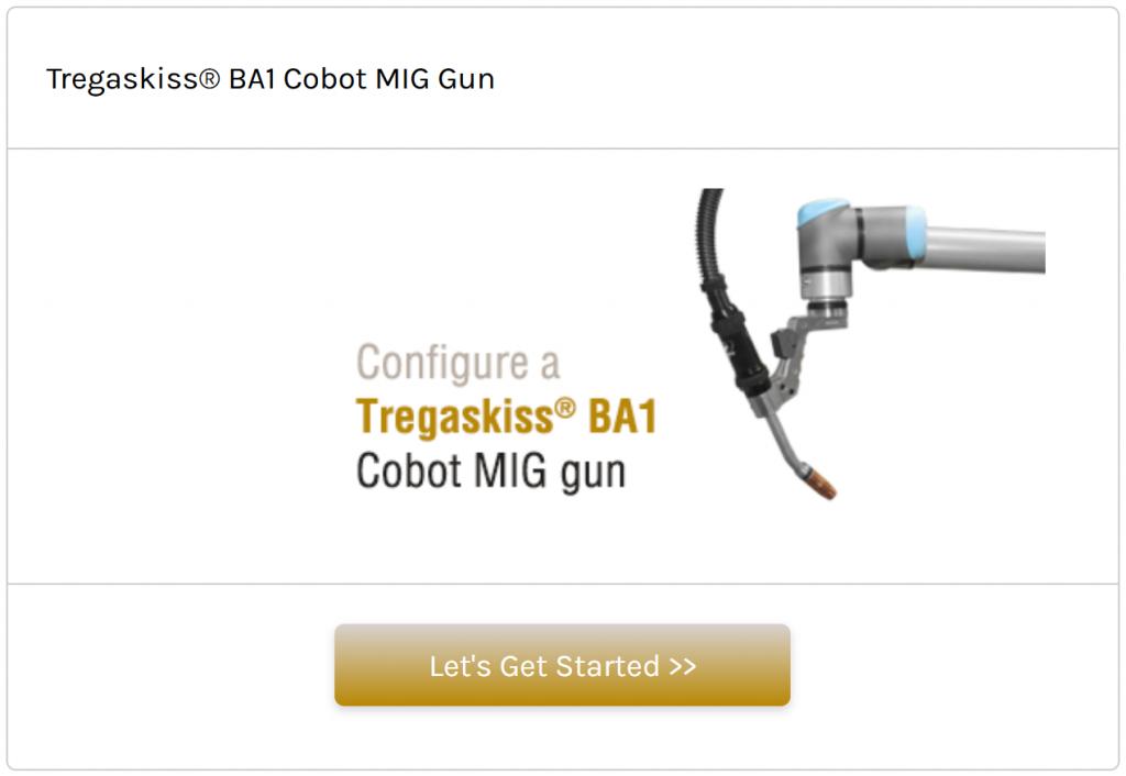 Configure a Tregaskiss BA1 cobot air-cooled MIG gun